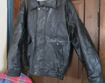 Vintage Black Leather bomber   Patchwork 80's Mens/Women's  Handcrafted Jacket oversized med