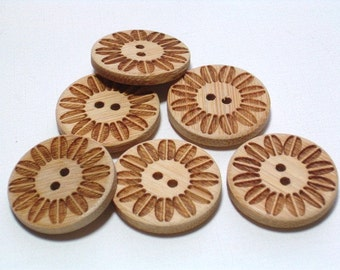 12 Wood Buttons with holes 21mm Set Embellishing Craft Sewing Buttons