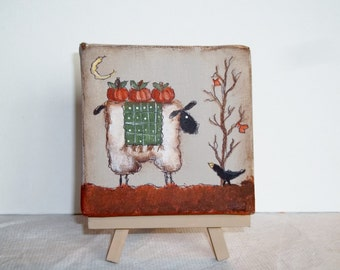 Primitive Mini Canvas    Hand Painted Sheep Canvas      Primitive  Fall Pumpkin