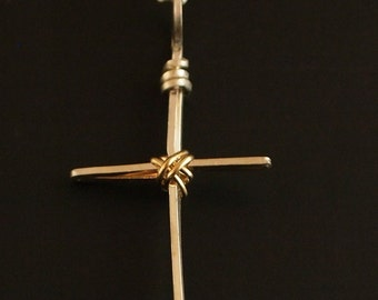 Sterling Silver and Gold Filled Cross Pendant