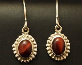 Red Tiger Eye  Drop Earrings in Sterling Silver
