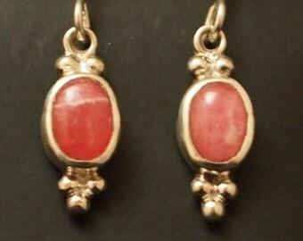 Sterling Silver and Rhodocrosite Dangle Earrings