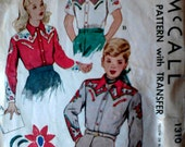 1940s-50s McCalls Boys and Girls Western Shirt Pattern #1310