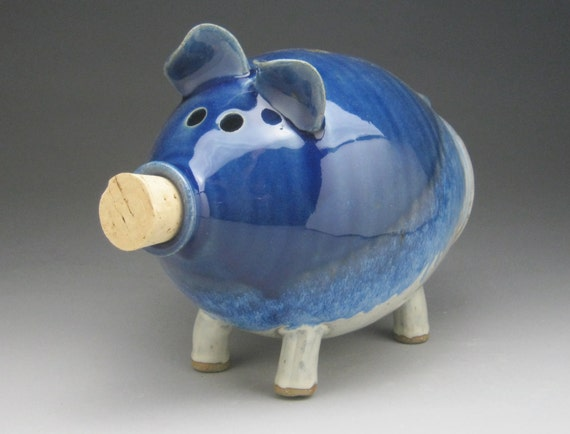 Large ceramic piggy bank in blue and white made to order Large piggy banks for adults