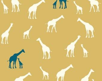 KNIT Organic Cotton Fabric-Birch- SERENGETI- Giraffe Fam sun- Great Shipping Rates