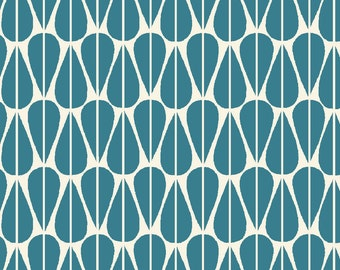 Organic Cotton Fabric- Monaluna- Westwood- LITTLE LEAVES teal - low shipping