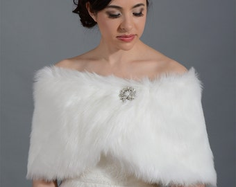 Ivory faux fur bridal wrap shrug stole shawl cape FW011