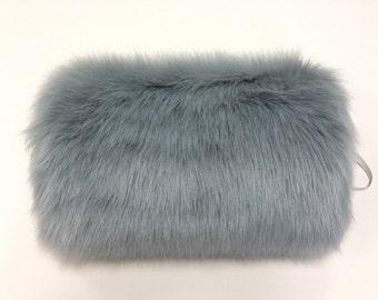 Faux fur muff fin silver color