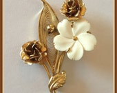 Vintage Sorrento Flower Brooch, 12k 1/20 Gold Filled, Roses, Carved Bone, Vintage 1960's early 1970s