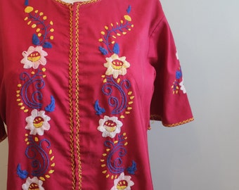 vintage.  60s Red Embroidered Caftan Dress // Cotton Dress // free Size