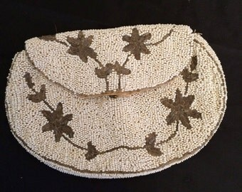 Vintage 1940's Belgian White and Grey Seed Bead Purse