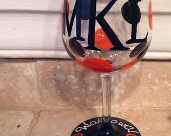 Hand painted , monogrammed UVA glass