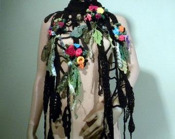 ELEGANT SCARF/SHOULDERETTE - Wearable Fiber Art, Extra Long, Freeform Crocheted Flowers/Leaves