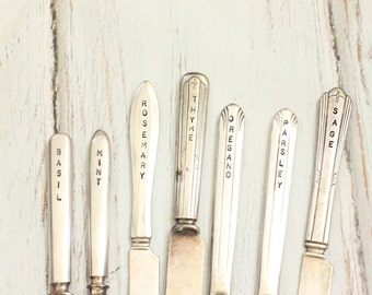 Eco-Friendly Silverware Herb Markers, 7 Rustic Garden Markers, Seedling Stakes