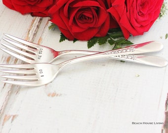 "Silver plate ""I do, me too"" wedding forks fall wedding decor upcycled Priscilla circa 1941"