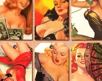 Pin Up Girl gift tags digital download printable collage sheet atc n002