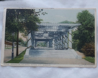 Vintage Post Card Pergola on the Paseo, Kansas City, Missouri 1920s