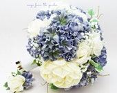 Blue White Ivory Bridal Bouquet Peonies Hydrangea Roses Ivory Peonies White Roses White Lace - Customize for your Colors