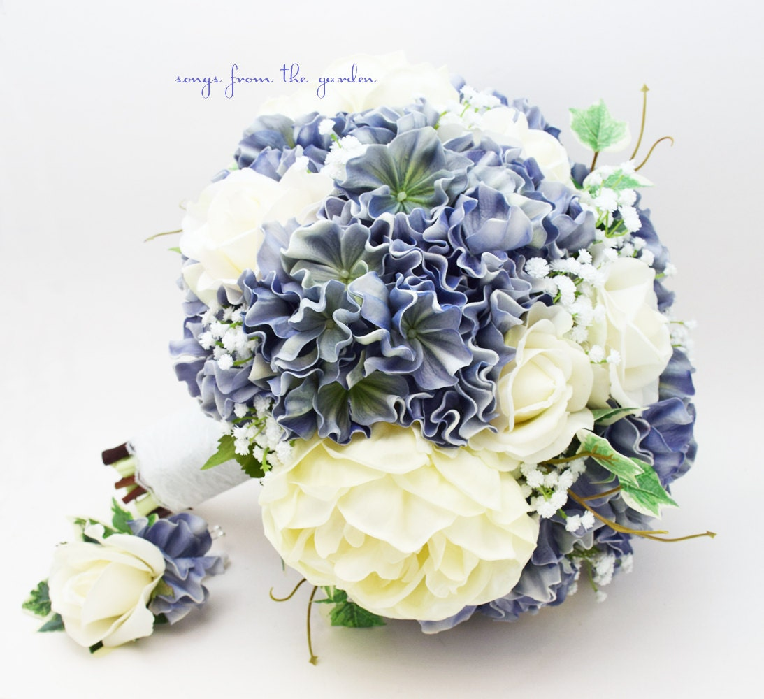 Hydrangea Bouquet: Blue White Ivory Bridal Bouquet Peonies Hydrangea Roses Ivory