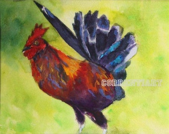 Rooster - Original Watercolor Painting 8x10