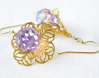 Crystal Drop Gold Filigree Earrings Cone Flower Color Change Alexandrite Aurora Borealis Crystal Light Blue Purple Handmade Jewelry Canada