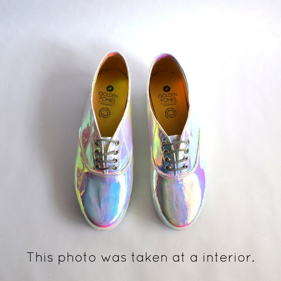 Mirrored Pony Oxfords Iridescent Flatforms vegan faux leather (Handmade to order)