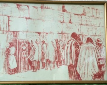 Vintage Lithograph by Israeli Artist Simon Caplan ~Signed by the Artist ~ Framed