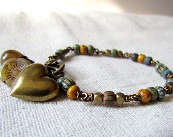 Heart Bracelet, Czech Glass Bracelet, Heart Charm, Wire Wrapped, Valentines Bracelet, Forest Floor, Earthy Charm Bracelet, Topaz and Sage