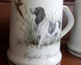 set of 4 English Spaniel coffee Mugs English Spaniel on point to pheasant vintage