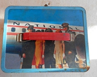 metal vintage lunch box airlines, pan am, american airlines, northwest orient, lufthansa, united, contental airlines, eastern, air canada