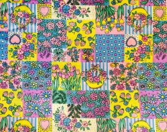 Flowers baskets lots of Colors Fabric 1 Yard