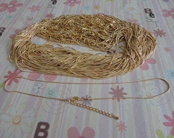 New style--20pcs 1.2mm 17 inch gold plated snake chain necklaces with extension chain
