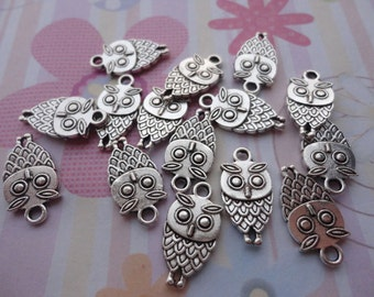 30pcs antique silver plated owl findings 19x9mm