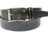 Black Distressed Leather belt with decorative golden studs great as Father husband or boyfriend gift