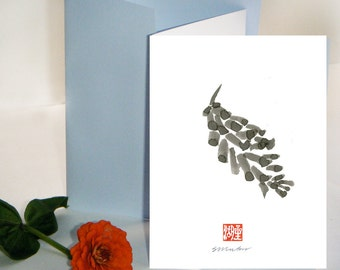 Pine Cone greeting card, inside blank, unique sumi ink Zen Painting Haiku, thank you cards, sympathy , sympathy, condolence - free shipping