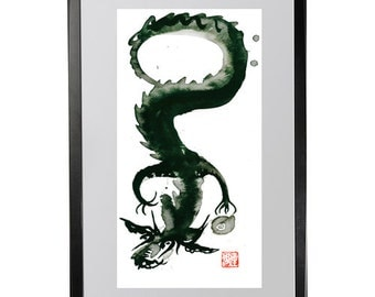 Dragon painting, Chinese Zodiac New Year of the Dragon, Zen Art Sumi Ink Original Painting, zen decor, yoga art, taoist art, enso, scroll