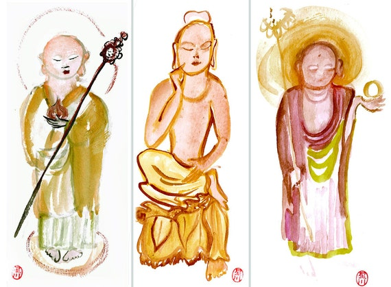 Zen Buddhas, Three Buddha Paintings set, Bodhisattvas: Jizo, Maitraiya Miroku Buddha, Medicine  Original Watercolors, zen decor, altar art