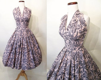 CLEARANCE Cute 1950's Cotton Print Halter New Look Vintage Sundress Rockabilly VLV Pinup Vixen Day Dress Size-X-Small