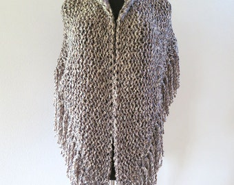 Outlander Inspired Dark Beige Gray Black Taupe Color Chunky Knitted Shawl Stole Wrap with Long Fringes Available in 2XL Size