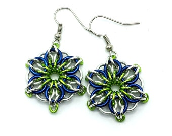 Ready to Ship Navy Blue and Lime Green Celtic Mandala Flower Star Chainmaille Earrings UV Reactive