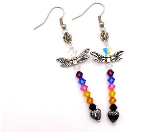 Chakra Color Swarovski Crystal Dragonfly Earrings with Sweetpea Chainmaille Weave