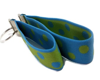 Key Fob Pair.  Turquoise Blue and Lime Green Dots.  Aqua and Lime Stretchy Wrist Key Holders.  Bracelet Style Stretch Key Organizers