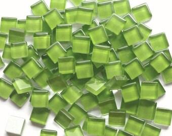 100 Lime Green/Apple Green Mini Crystal Glass Mosaic Tiles 3/8 inch//Mosaic Supplies//Chartreuse Tiles//Mosaic