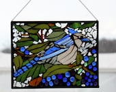 glass on glass Mosaic - Blue Jay-  Stained Glass SunCatcher or wall Decoration