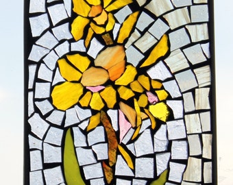 Yellow  callas  Mosaic ,Stained Glass SunCatcher or wall Decoration