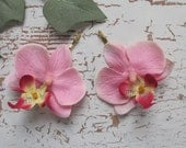 Hawaiian PINK Orchids SET OF 2 bobby pins flowers-hair clips - Weddings