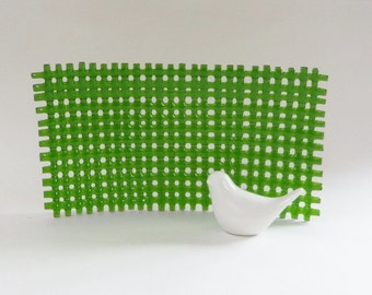 Spring Green Woven Fused Glass Art Dish // Summer // Bright // Grass // Candy // Display // Home Decor // Fruit // Functional // Cheerful