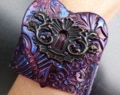 The Key to my Heart oxidized copper polymer clay cuff bracelet