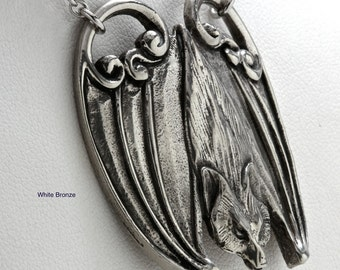 Bat Necklace Big Flying Fox made in NYC White Bronze