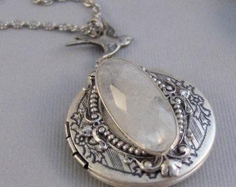 Lunar Gleam,Moonstone,Moonstone Necklace,Antique Locket,Silver Locket,White Locket,,Gemstone Locket,Opal,Gemstone Necklace,Genuine Gemstone